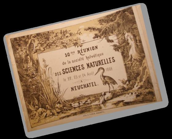 Gesellschaftsarchiv SANW, Burgerbibliothek Bern - Carton de la 50e réunion de la Société helvétique des sciences naturelles, Neuchâtel, 1866
