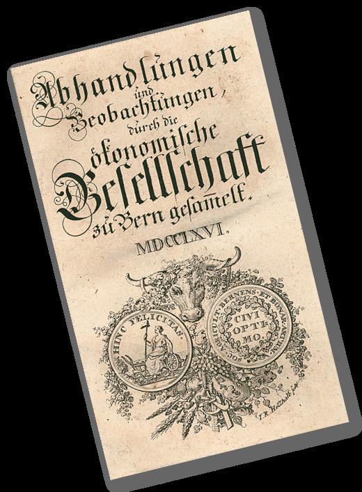 Burgerbibliothek Bern - Abhandlungen und Beobachtungen durch die oekonomische Gesellschaft zu Bern gesammelt (1766), page de titre