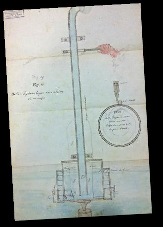 Schéma d'un procédé hydraulique envoyé par le genevois Ami Argand au duo d'entrepreneurs britanniques Boulton & Watt - Birmingham Central Library - Archives of Soho