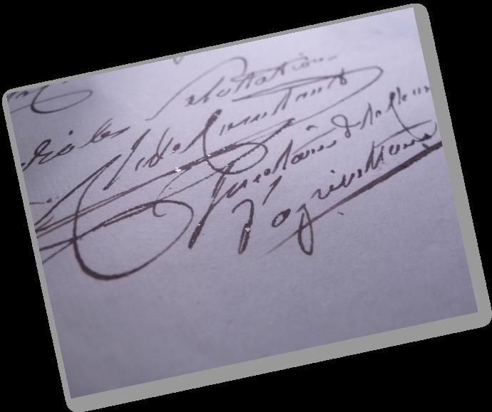 Signature de Charles de Constant au bas d'un courrier adressé à la Société des arts (vers 1820) - Archives Société des arts de Genève
