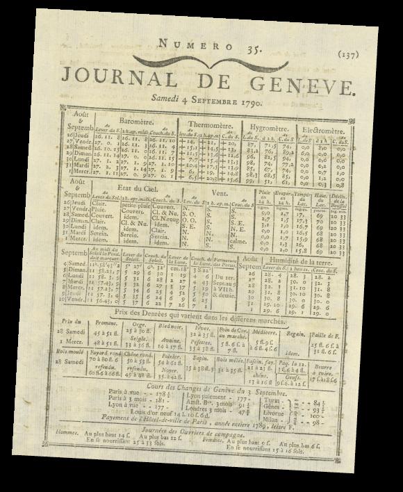 Informations météorologiques et prix des denrées dans le premier Journal de Genève, publié par la Société des arts